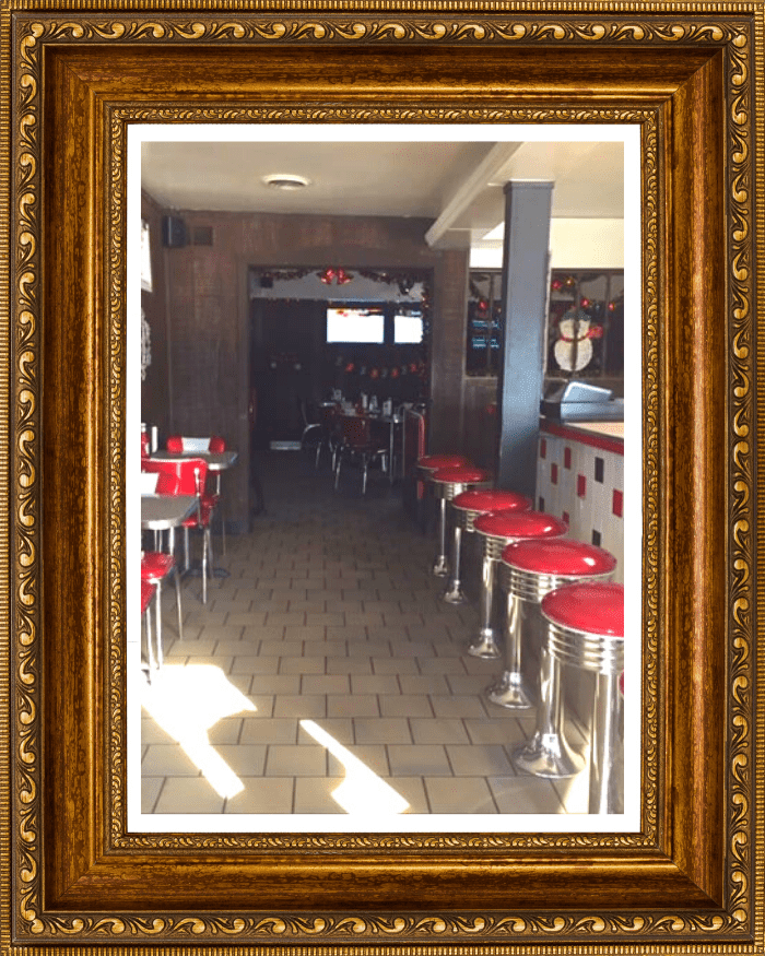 Framed Photo of the interior of the Igloo Diner.